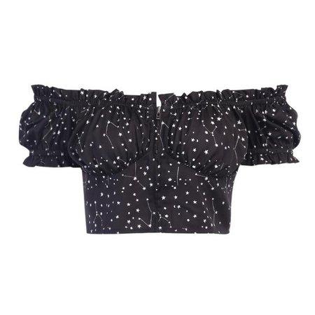 ROCK 'N DOLL Gothic Stars Constellation Off Shoulder Crop Top