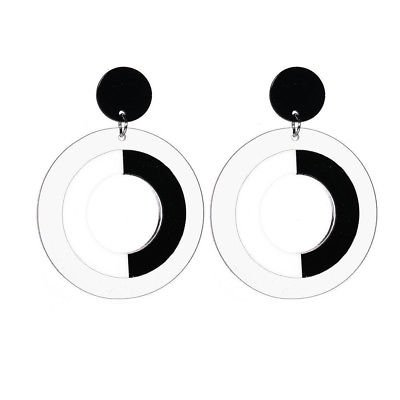 Women Black White Large Round Drop Dangle 60s Retro Style Earrings Jewellery | eBay