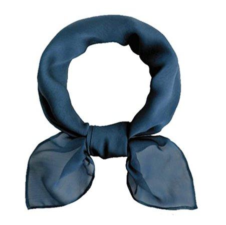"Amazon.com: Moonlight Navy Blue Sheer Chiffon Square Neck Scarf 27""x27"" Neckerchief 1950s Retro Classic Headscarf Gift for Women Girls Ladies Favor: Handmade"