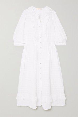 White Rosa ruffled cotton-seersucker midi dress | &Daughter | NET-A-PORTER