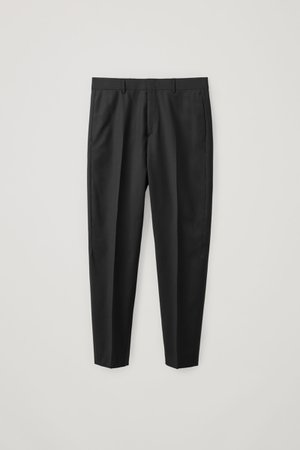 TAPERED WOOL TROUSERS - black - Trousers - COS WW