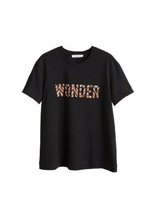 MANGO Textured message t-shirt