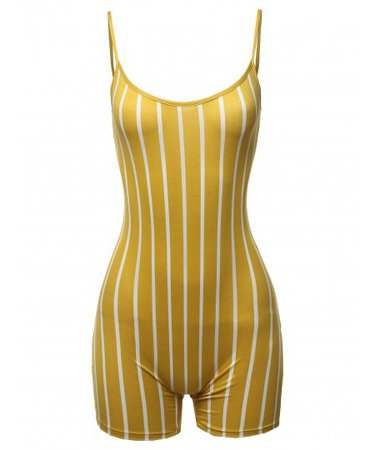 Women's Pin-stripe Spaghetti Strap Sexy Bodysuit Biker Short Jumpsuit - FashionOutfit.com
