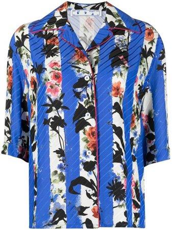 Off-White Striped Floral Bowling Shirt - Farfetch