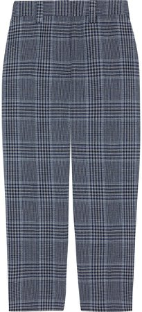 Cropped Prince Of Wales Checked Cotton-blend Tapered Pants