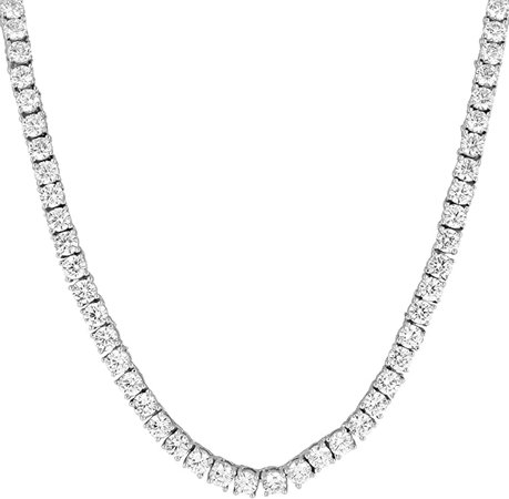 "MASTER OF BLING 1 Row Tennis Necklace 24"" Solitaire Lab Diamonds 14k White Gold Finish 3MM Unisex 