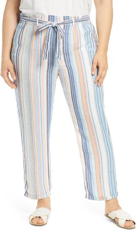 Stripe Tie Belted Linen Blend Pants