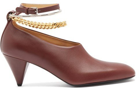 Anklet-chain Leather Cone-heel Pumps - Burgundy