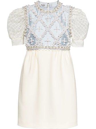Shop white & white Miu Miu embellished-panel mini dress with Express Delivery - Farfetch