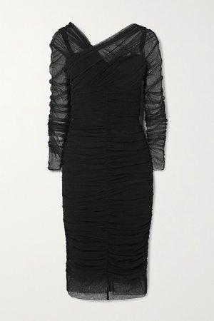 Black Ruched tulle midi dress | Dolce & Gabbana | NET-A-PORTER