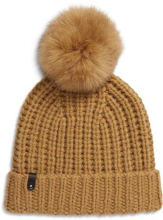 Cashmere & Wool Beanie with Genuine Fox Fur Pom