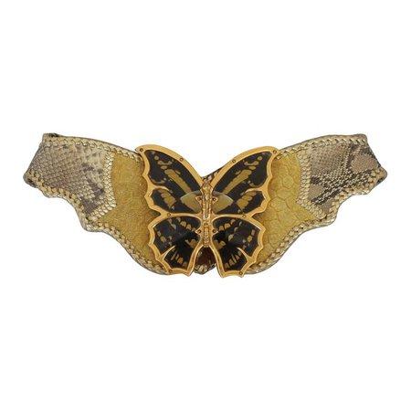 Cesar Ugarte Vintage Gold Python Belt with Brass Butterfly Buckle - cc 1980's | HushHush.com