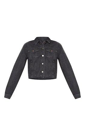 Washed Black Cropped Denim Jacket   Denim   PrettyLittleThing