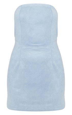 Dusty Blue Faux Suede Bandeau Bodycon Dress | PrettyLittleThing