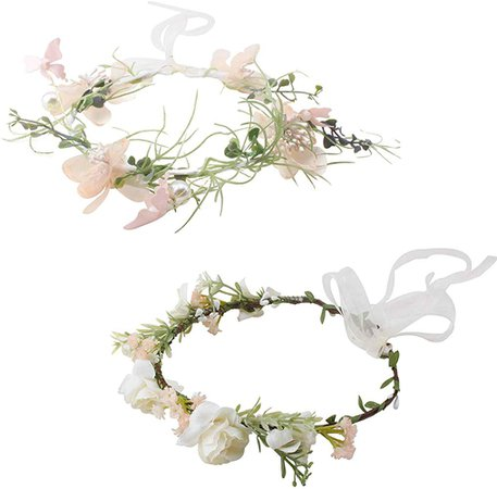 Women Flower Crown Headband Set Adjustable Hair Wreath Floral Garland Halo Headpiece Wedding Festival Party by mligril at Amazon Women's Clothing store: