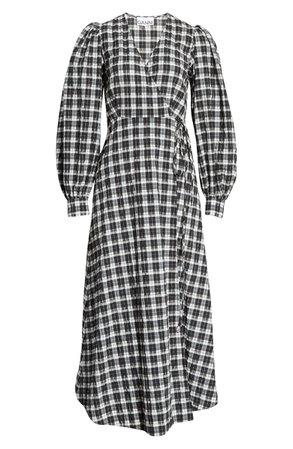 Ganni Long Sleeve Check Seersucker Wrap Dress