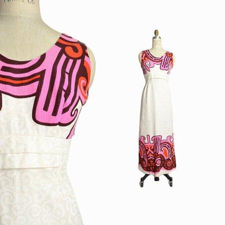 Vintage 70s White Hawaiian Wedding Dress / 1970s Barkcloth | Etsy