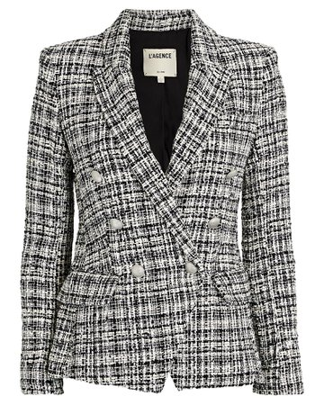 L'Agence Kenzie Double-Breasted Tweed Blazer | INTERMIX®