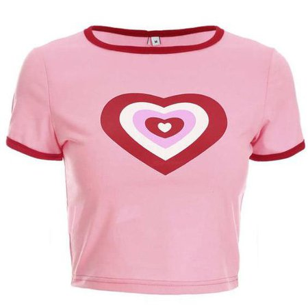pink cropped t-shirt w/ hearts