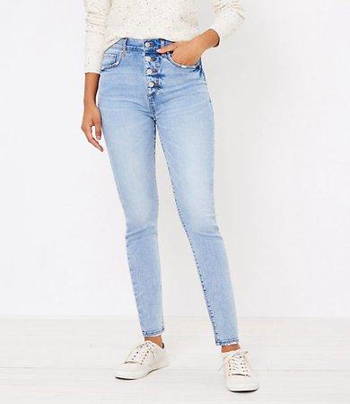 Petite High Waist Skinny Jeans in Authentic Light Indigo Wash