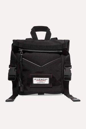 Leather-trimmed Shell Backpack - Black