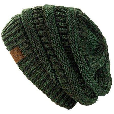green knit beanie
