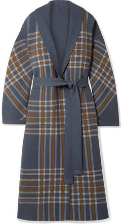 Calgary Reversible Leather-trimmed Belted Checked Cashmere Coat - Gray