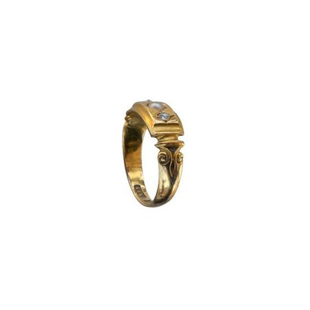 1880s Pearl and Rose Cut Diamond Ring, 18K Gold : Erie Basin Antiques (€34)