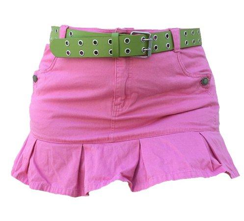 pink y2k pleated mini skirt green belt