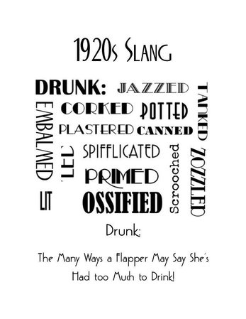 1920s Art Deco Slang Note Cards Vintage Flapper Great Gatsby Idioms Sayings… | Sayings and phrases, 1920s art deco, Word poster