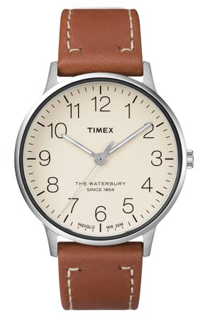 Timex® Waterbury Classic Leather Strap Watch, 40mm | Nordstrom