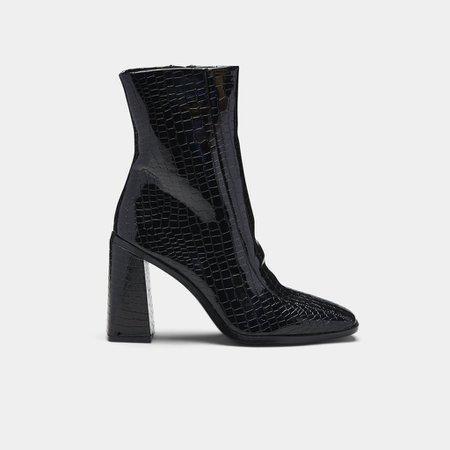 NAMI Square Toe Croc Ankle Boot | Koi