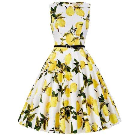 Lemon Patterns Sleeveless Boat-Neck Cotton Spandex Vintage Dress