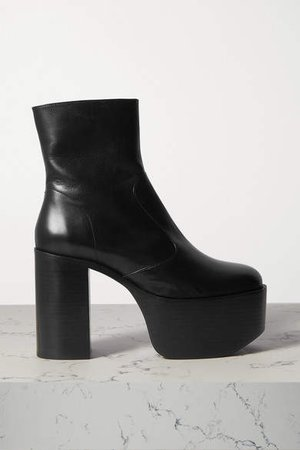 High Raid Leather Platform Ankle Boots - Black