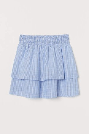 Tiered Cotton Skirt - Blue