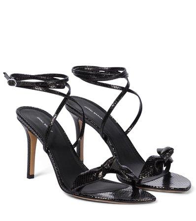 Isabel Marant - Alt lizard-effect leather sandals | Mytheresa