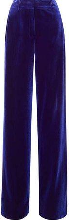 Flore Stretch-velvet Wide-leg Pants - Blue