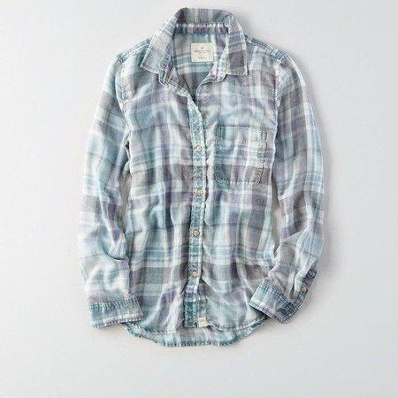 AE Washed Plaid Boyfriend Shirt