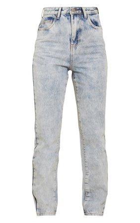 Acid Blue Wash Long Leg Straight Jeans   PrettyLittleThing USA