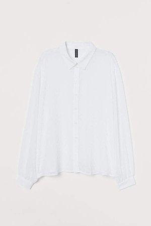 Plumeti Chiffon Blouse - White