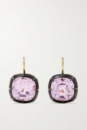 Gold Collection silver-topped 18-karat gold kunzite earrings   Fred Leighton   NET-A-PORTER