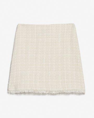 High Waisted Tweed A-line Mini Skirt   Express