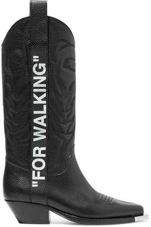 Off-White   For Walking embroidered printed textured-leather knee boots   NET-A-PORTER.COM