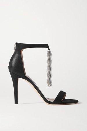 Viola 100 Crystal-embellished Suede Sandals - Black