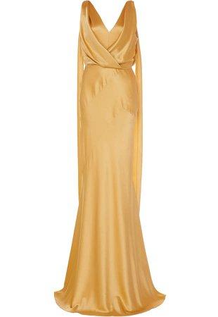 Draped Tie-Detailed Silk Column Gown