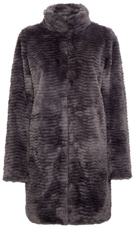 Slate Longline Faux Fur Coat