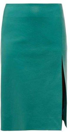 Front Split Leather Midi Skirt - Womens - Green