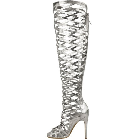 Details about LADIES WOMENS CUT OUT LACE KNEE HIGH HEEL BOOTS GLADIATOR SANDALS STRAPPY SIZE