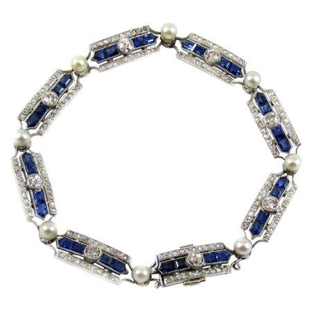 Art Deco Sapphire Diamond Pearl Platinum French Bracelet