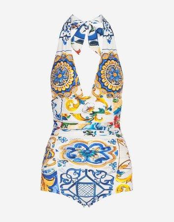 Dolce & Gabbana - Majolica-print one-piece swimsuit ($695)